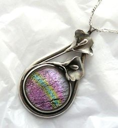 Precious Metal Clay Dichroic Glass Pendant and Necklace. $65.00, via Etsy.