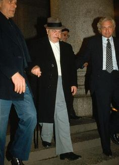 "Fat Tony Salerno, as he was being arrested in the so-called ""Commission Case."" Salerno, along with the heards of the five other New York City Mafia Families, was convicted and sentenced to life in prison. Real Gangster, Mafia Gangster, Famous Outlaws, Mafia Crime, Chicago Outfit, Mafia Families, Al Capone, Thug Life, The Godfather"