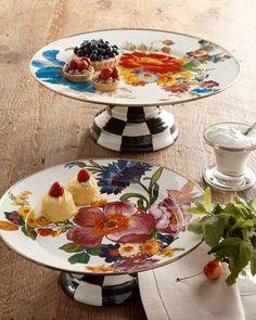 -4LQB MacKenzie-Childs  Small Flower Market Pedestal Platter Large Flower Market Pedestal Platter
