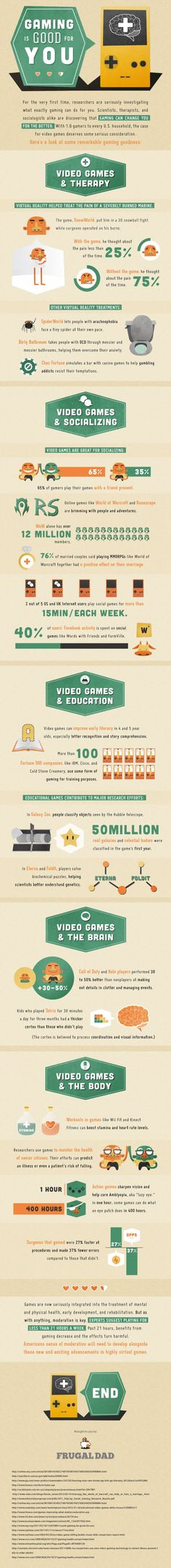 Video game benefits infographic.