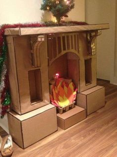 Definitely making one of these when Charlie's older...children always ask how Santa comes in if there's no chimney, this 'magic fireplace' is the perfect solution!