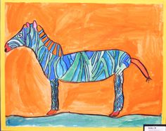 Complimentary Colored Animals Inspired by Fauvism/ grade 4