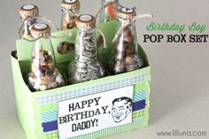 Adorable pop bottle birthday gift {filled with favorite snacks} by Lil' Luna