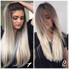 Il prima e il dopo di un taglio scalato di una ragazza giovane con i capelli biondi