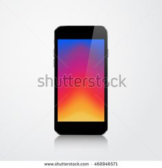 Realistic Phone 4.7 inch with Colorful Screen Isolated on White Background…