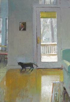 Carole Rabe - Artist Winter Cat Oil on canvas, 36 x 24