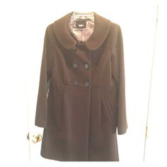 lowest price. Beautiful brown wool pea coat! Worn once! New winter coat. Juniors large. No damage. 32in length. Two front pockets. Cute big buttons. Mossimo Supply Co Jackets & Coats