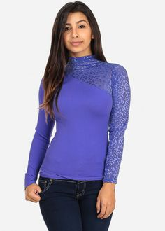 Turtle Neck Purple Long Sleeve Top with Mesh Detail