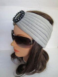 Turban Headband Knitted Turban Grey Beaded Headwrap by MiLaViKnits Headband Crafts, Turban Headbands, Knitted Headband, Baby Knitting Patterns, Loom Knitting, Knitted Bags, Ear Warmers, Head Wraps, Hair Band