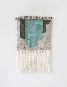 Emerald Abstract Weaving HandWoven Wall Hanging by hellohydrangea