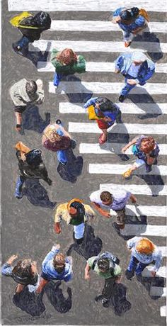 "intereting or creative modern subject to paint: ""Pedestrians Jim Zwadlo, acrylic painting Illustrations, Illustration Art, Kunst Online, Perspective Art, A Level Art, Ap Art, Art Studios, Figurative Art, Online Art Gallery"