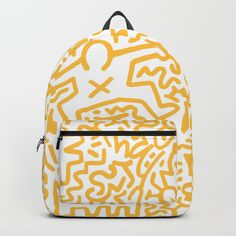 """Keith Haring backpack! Our Backpacks are crafted with spun poly fabric for durability and high print quality. Thoughtful details include double zipper enclosures, padded nylon back and bottom, interior laptop pocket (fits up to 15""""), adjustable shoulder straps and front pocket for accessories. Dry clean or spot clean only. One unisex size: 17.75""""(H) x 12.25""""(W) x 5.75""""(D)."""