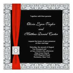 Black and white silver gray overlay with red bow red black wedding invitation.