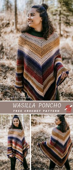 Pretty Cool Poncho for Ladies and Little Girls Free Pattern. The ponchos are perfect to wear for seasonal transition pieces. They are a cute occasion for late night bonfires when the air gets chilly too. Poncho Au Crochet, Knit Crochet, Crochet Vests, Freeform Crochet, Knitted Shawls, Crochet Shrugs, Crochet Geek, Poncho Shawl, Crochet Winter