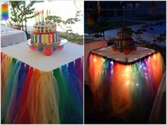 This fairy light tutu table skirt is perfect for your party ! It 's easy to make . All you need is a string of LED lights and some tulle of your favorite colors. Check the link below to learn how to create this amazing looking tutu table skirt~ Enjoy ! Click here for the tutorial from Catchmyparty