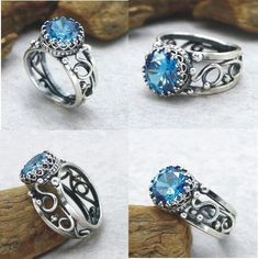 Swiss Blue Topaz Ring Silver Swiss Blue Ring Size 5 6 7 8 9 10