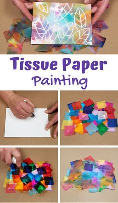 Tissue Paper Painting Bleeding Color Art Activity is part of Crafts for kids - Create a canvas of color with this popular tissue paper painting activity! You may have also heard this method referred to as bleeding tissue paper art or tissu Tissue Paper Crafts, Paper Crafting, Diy Paper, Paper Crafts Kids, Contact Paper Crafts Toddlers, Easy Crafts With Paper, Paper Plate Crafts, Fabric Crafts, Fun Crafts To Do