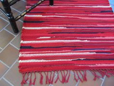 Rug Handwoven Recycled Wool Rag Crimson Red by aclhandweaver, $1150.00