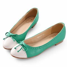 Cute Women White and Green Leather Flat Dress Ballet Flats Shoes SKU-1091421