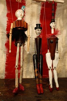 Dolly,  Dapper Dan and Finoa, wood puppets from carved from found objects