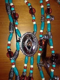 Rhythm Beads,Horse Bling,Necklaces, Horses,New Southwest w/ Feathers,Turquoise