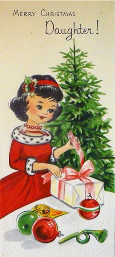 vintage greeting card merry christmas daughter unused with envelope - Merry Christmas Daughter