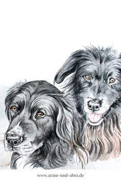 Zeichnung von zwei Hunden   Hund in Aquarell   Portrait   #zeichnen Zeichnen   DIY   Tipps   Anleitung   kreativ   Kunst   Tierportrait   Hunde   Mix   schwarz weiß  Aram und Abra   www.aram-und-abra.de