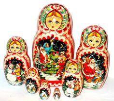 christmas santas russian nesting dolls for sale | Home Nesting Dolls 7pcs &more Christmas Time Matryoshka Doll