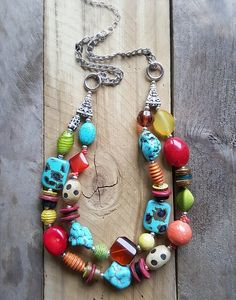 Two Strand, Multicolored Eclectic Necklace, Turquoise, Animal Print