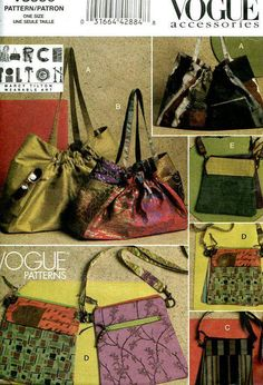 d78e0df6f5 Free US SHIP Vogue Accessories 8590 Designer Marcy Tilton Fabric Purse Tote  Hand Bag Double Bags Handbag Out of Print Old Store Stock New FF