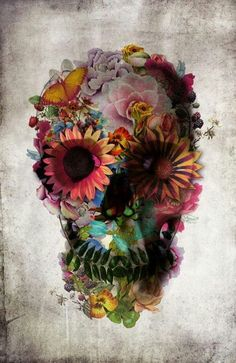 inspiration for a day of the dead tattoo. Colorful flowers. Pastel colors preferred. Each flower can represent a member of my immediate family by their birth month and it's specific flower. Want to draw it myself.
