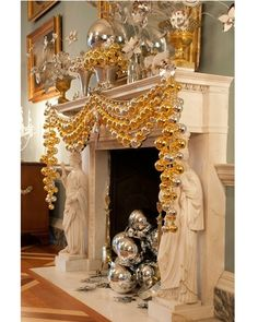 Grecian inspired. Strands of gold and silver ornaments.