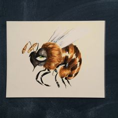 Bummer Bee 11 x 14 by markpenxa on Etsy - painting