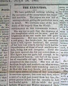 Abraham Lincoln Conspirators Executed In 1865...  UNION DEMOCRAT, Manchester, N.H., July 18, 1865 newspaper...