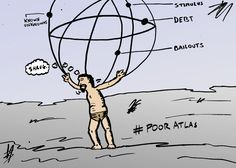 Atlas Shrugs is an op-ed business cartoon about the state of the world's economies. It was first released through optionsclick on July 28, 2013 at http://blog.optionsclick.com/2013/07/28/earnings-reports-boost-us-stocks for options investors and readers of financial market updates.