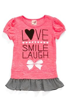 Jenna & Jessie 'Love Smile Laugh' Top (Toddler Girls, Little Girls & Big Girls) (Online Only) Toddler Fashion, Toddler Outfits, Kids Outfits, Kids Fashion, Girls Tees, Shirts For Girls, Kids Girls, Toddler Girls, Polo Outfit