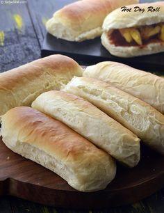 Hotdog Roll, Homemade Hotdog Roll recipe that Chou can adapt to make it gluten free Hot Dog Rolls, Hot Dog Buns, Hot Dog Roll Recipe, Hotdog Buns Recipe, Hamburger Bun Recipe, Homemade Hamburger Buns, Homemade Hot Dogs, Homemade Breads, Homemade Buns
