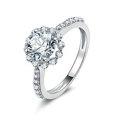 AmDxD Jewelry Silver Plated Women Promise Customizable Rings Flower CZ Size 105 ** See this great product.