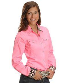 Wrangler Embellished Zebra Print Cuffs & Collar Western Shirt