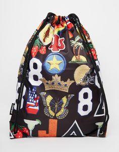 Image 1 ofJaded London Drawstring Backpack in Novelty Print