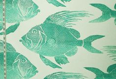 Fish fabric turquoise aqua tropical indoor outdoor from Brick House Fabric: Novelty Fabric