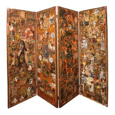 Late 19th Century Victorian Decoupage Four-Panel Screen | From a unique collection of antique and modern screens at https://www.1stdibs.com/furniture/more-furniture-collectibles/screens/