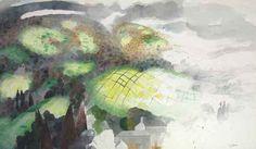 Edward Burra (English, 1905-1976), Landscape, 1976. Pencil and watercolour, 29½ x 51½ in. (75 x 130.8cm.)