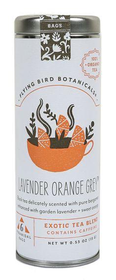 Tea Bags & Loose Tea Leaves Lavender Orange Red Herbal Tea by Flying Bird Botanicals Organic Packaging, Coffee Packaging, Food Packaging, Brand Packaging, Branding, Tea Logo, Tea Design, Label Design, Design Poster
