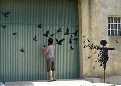In the style of Banksy - Street Art by Pejac in Salamanca, Spain 2