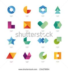 Collection of abstract blank symbols. Simple geometric shapes.