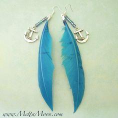 MettaMoon Feather Wing Blue Anchor Earrings www.METTAMOON.com