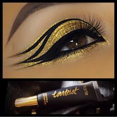 "sugarpillcosmetics: ""Goooorgeously gilded eyes by using Sugarpill Goldilux eyeshadow and Tarteist eyeliner! "" sugarpillcosmetics: ""Goooorgeously gilded eyes by using Sugarpill Goldilux eyeshadow and Tarteist eyeliner! Egyptian Eye Makeup, Cleopatra Makeup, Gold Eye Makeup, Eye Makeup Art, Eyeshadow Makeup, Beauty Makeup, Eyeliner, Sugarpill Cosmetics, Dance Makeup"