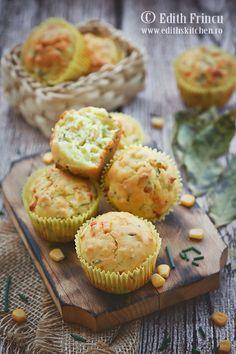 Muffins cu porumb si chives - fufoase si aromate de la chives, dulcege de la zahar si porumb sipufoase.