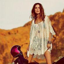 Vrouwen jurken meisje zomer A-lijn Lace jurk Effen Vintage Hippie Boho Mensen…